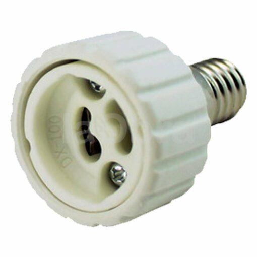 Adaptador bombillas todos los casquillos E14 a GU10
