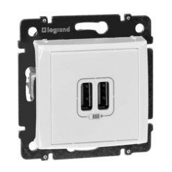 Base doble cargador USB blanco