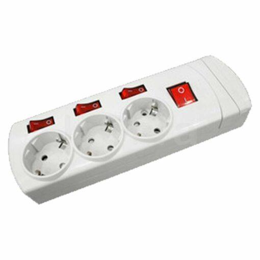 Base múltiple con interruptores independientes y cable conexionado