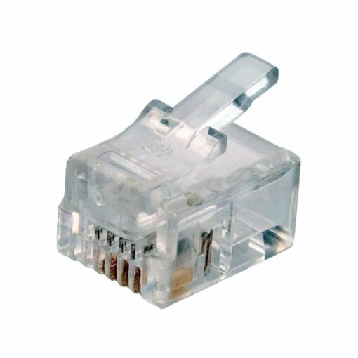 Conector macho cable telefónico plano