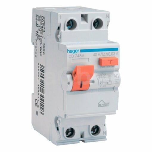 Interruptor diferencial monofásico vivienda Hager