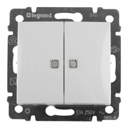 Doble conmutador luminoso Legrand Valena