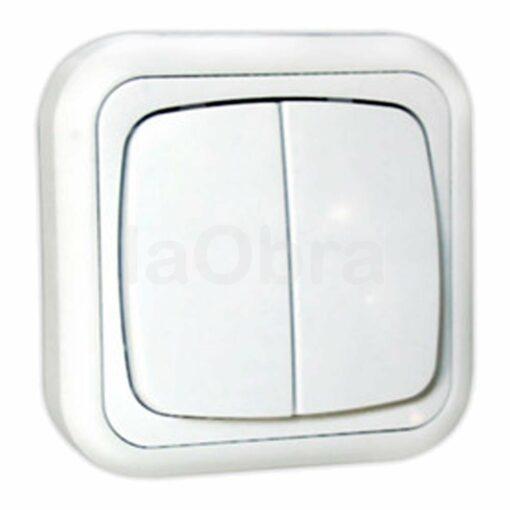 Doble interruptor superficie blanco
