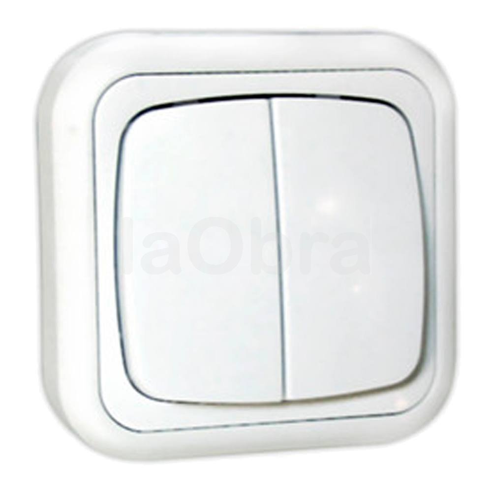 Doble interruptor superficie blanco