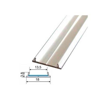 Perfil aluminio recto tira led sin difusor