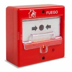 Pulsador incendio rearmable para uso exterior