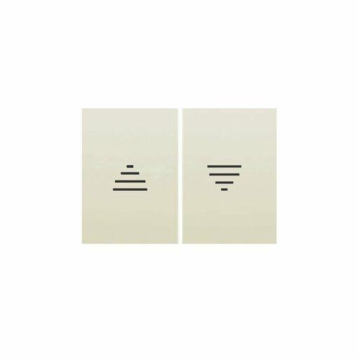 ecla doble para interruptor y doble pulsador de persianas de color beige