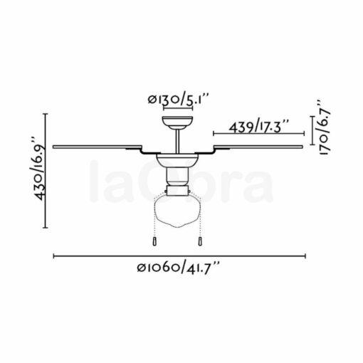 Ventilador de techo Aruba dimensiones